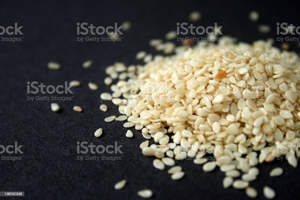 White Sesame on Black Background royalty-free stock photo