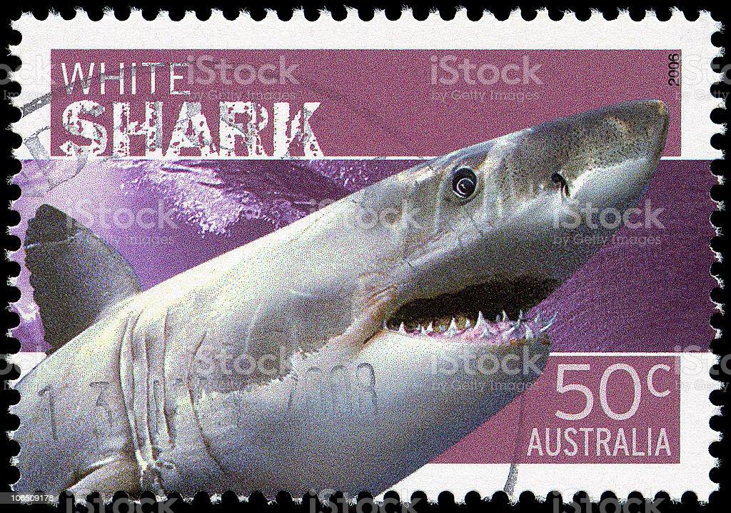 White Shark Stamp stock photo