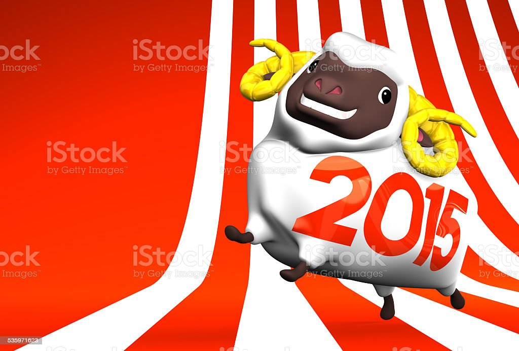 White Sheep 2015 On Striped Pattern Text Space stock photo