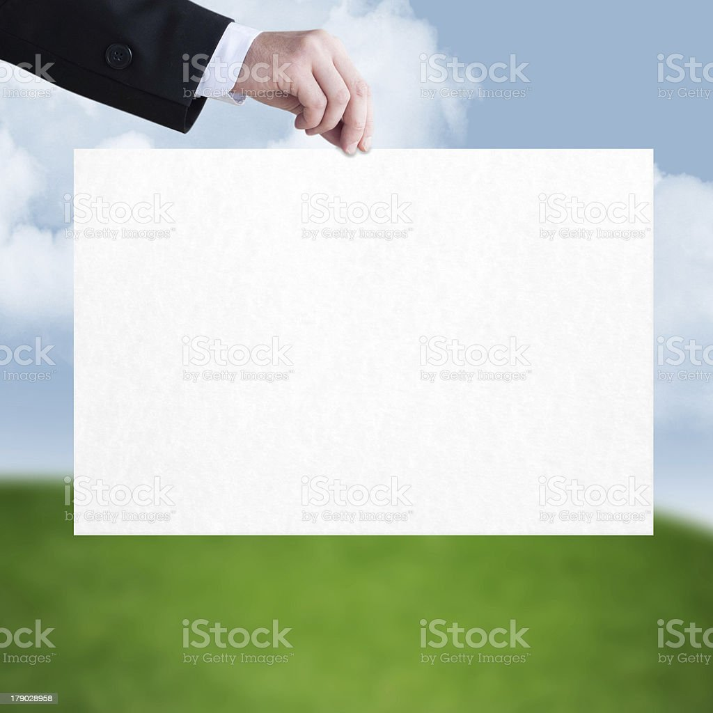 White sheet in the men hand royalty-free stock photo