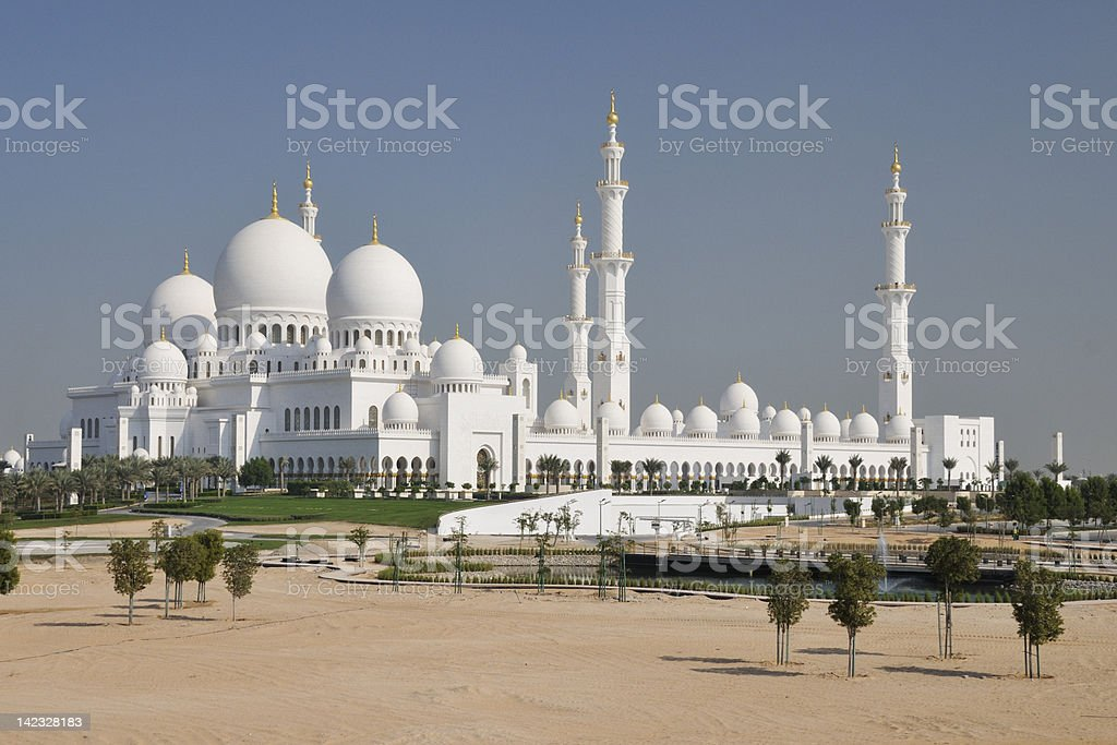 White Sheikh Zayed Mosque in Abu Dhabi stock photo