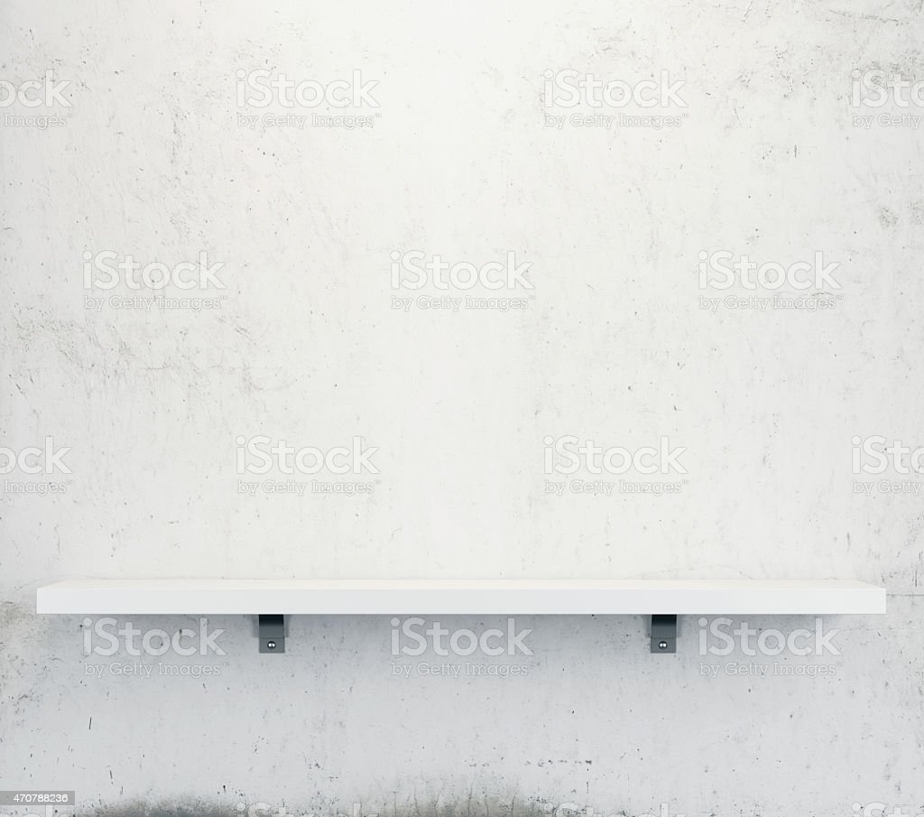 White shelf on the wall stock photo