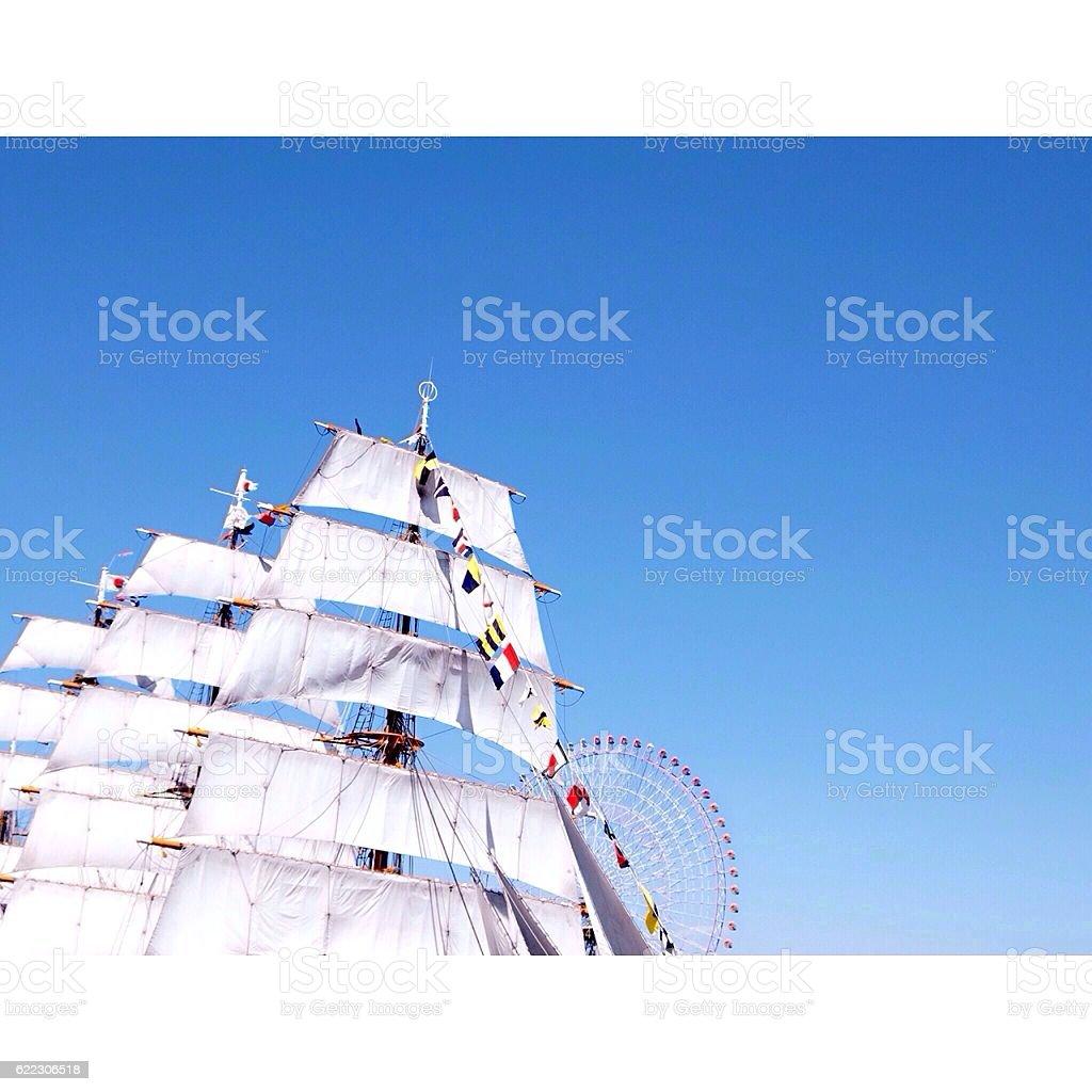 white ship & blue sky royalty-free stock photo