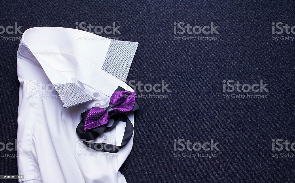 white shirt and bow tie stock photo