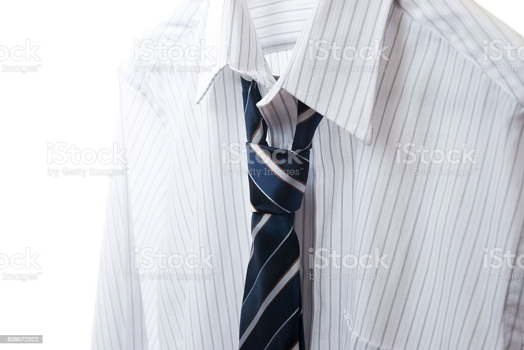 White shirt and striped tie, close up stock photo