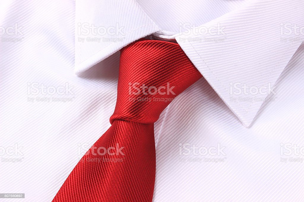 White shirt with red necktie stock photo
