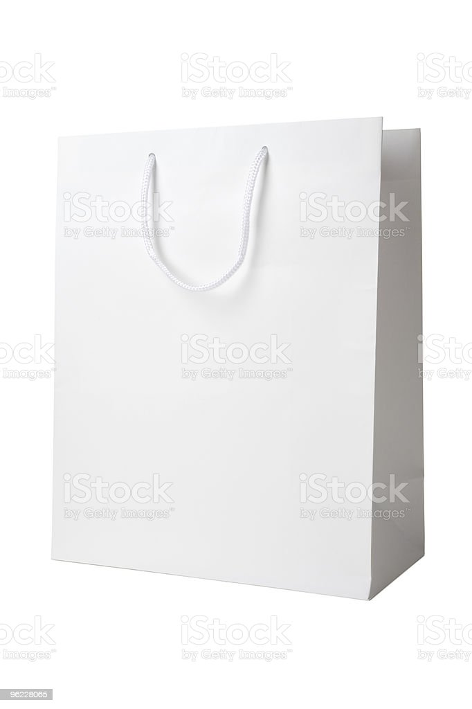 White shopping bag on a white background stock photo