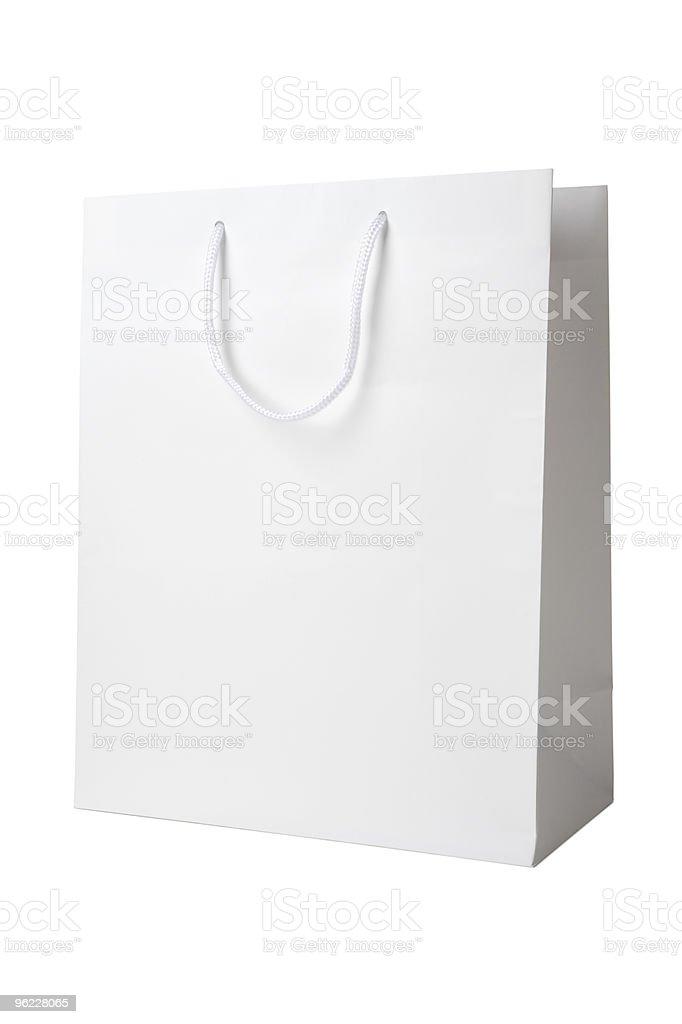 White shopping bag on a white background stock photo
