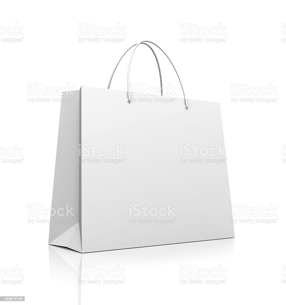 White shopping bag stock photo