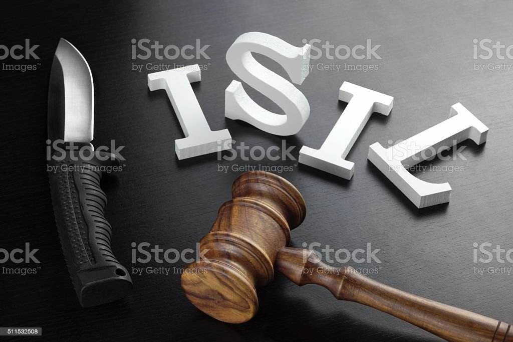 White Sign ISIL And Judges Gavel On The Black Background stock photo