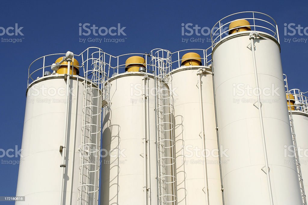 White silo's in industrial area # 1 royalty-free stock photo