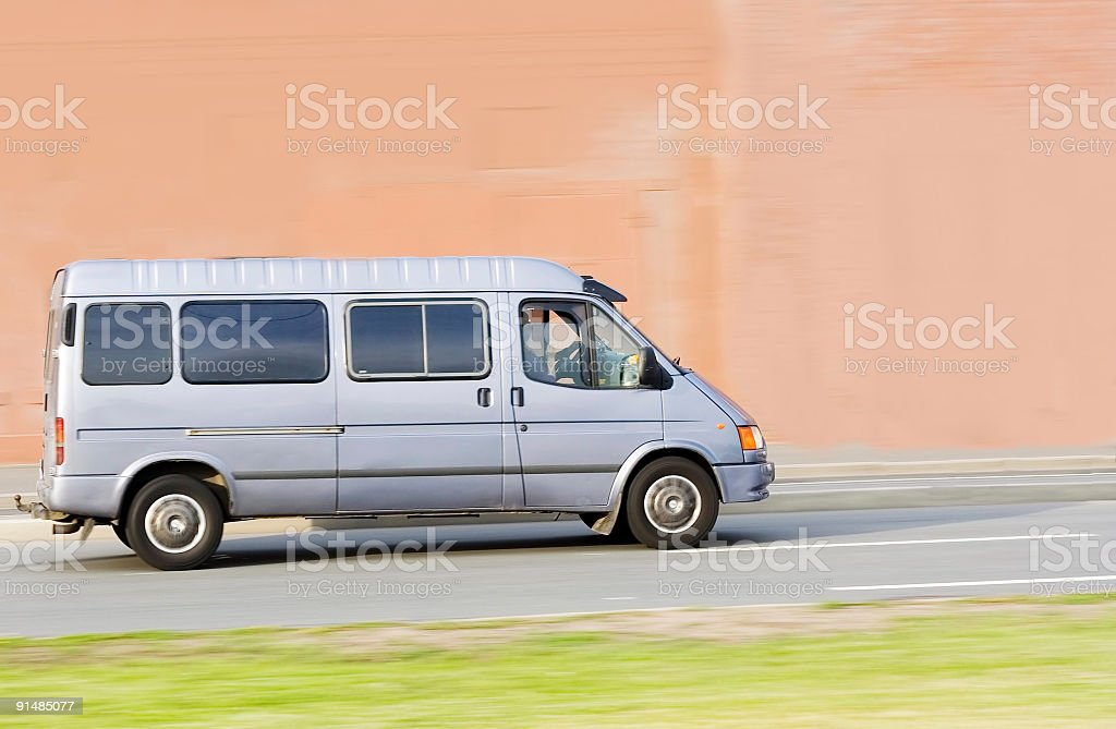 white silver blank Shuttle Bus of 'business vehicles' series stock photo