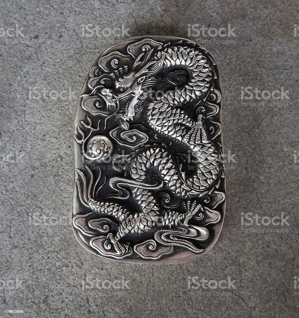white silver dragon royalty-free stock photo