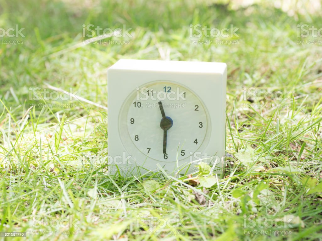 White rectangle simple clock on lawn yard, 11:30 eleven thirty o\'clock