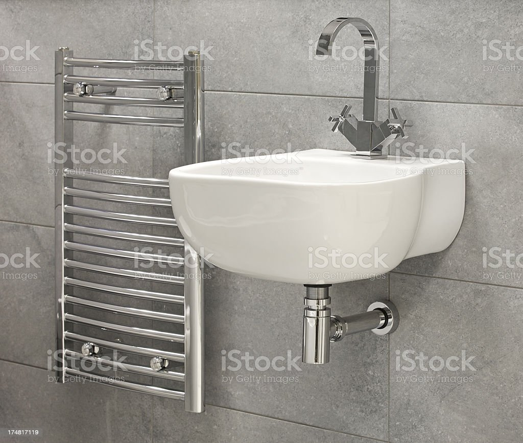 white sink and radiator stock photo