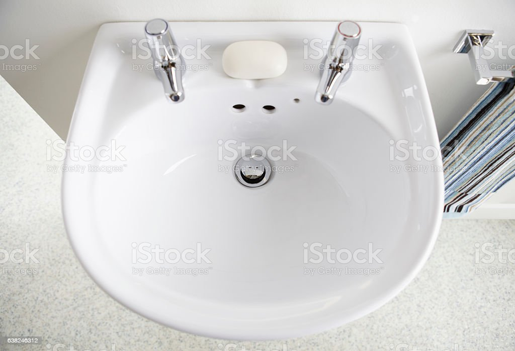 White sink in contemporary home bathroom stock photo