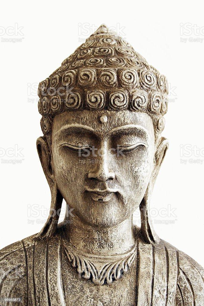 White Sleeping Praying Buddha Statue stock photo