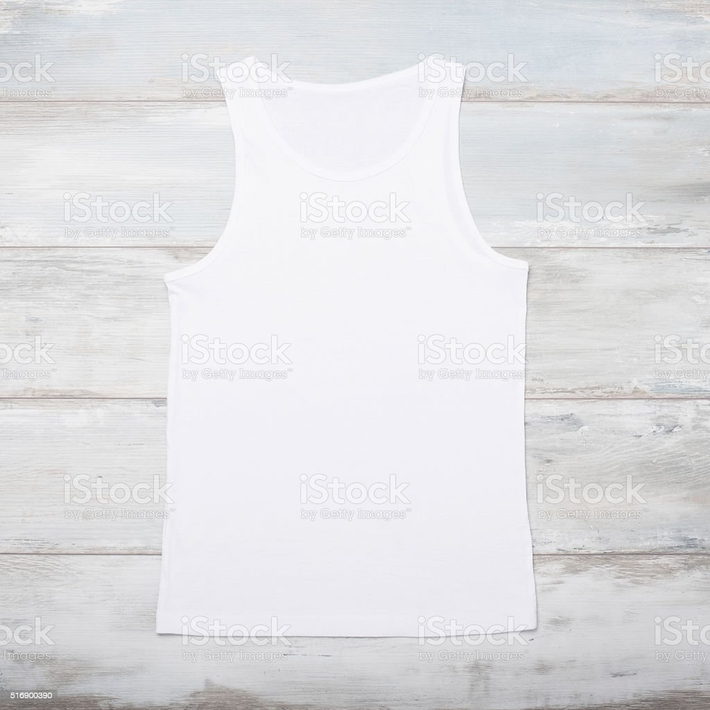 White sleeveless shirt stock photo