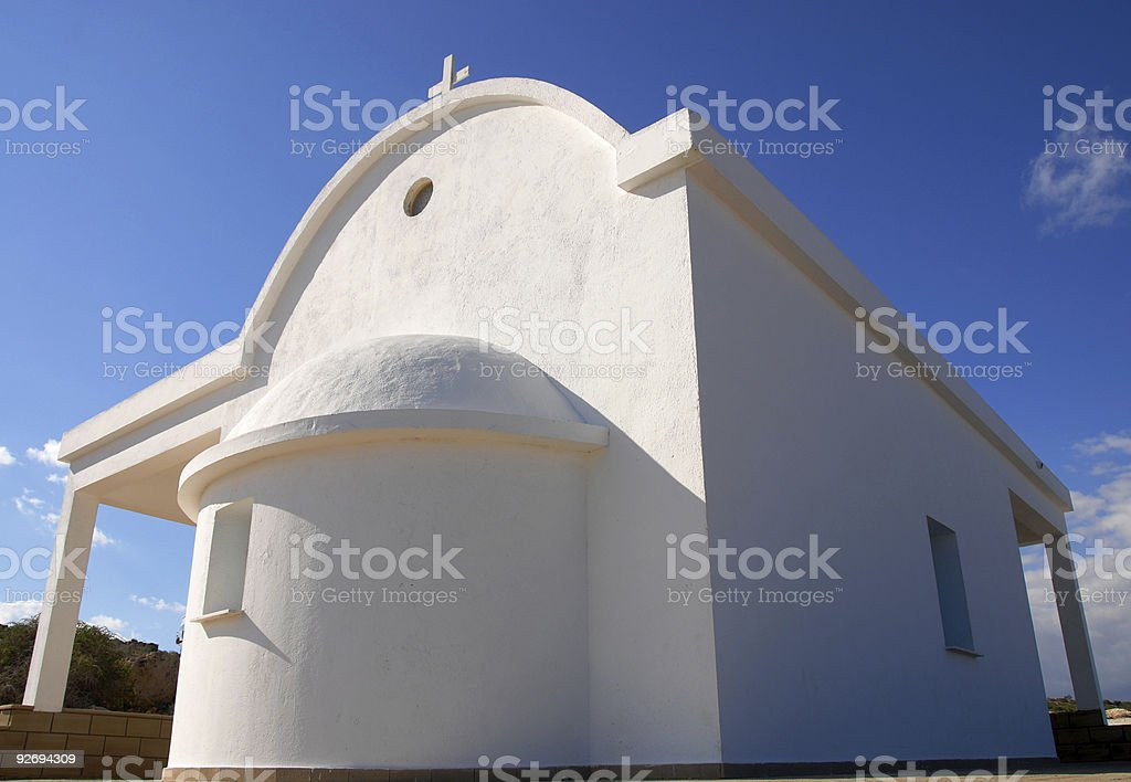 White small orthodox church stock photo