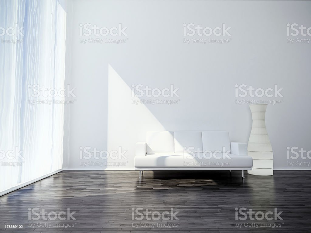 white small sofa on black floor royalty-free stock photo