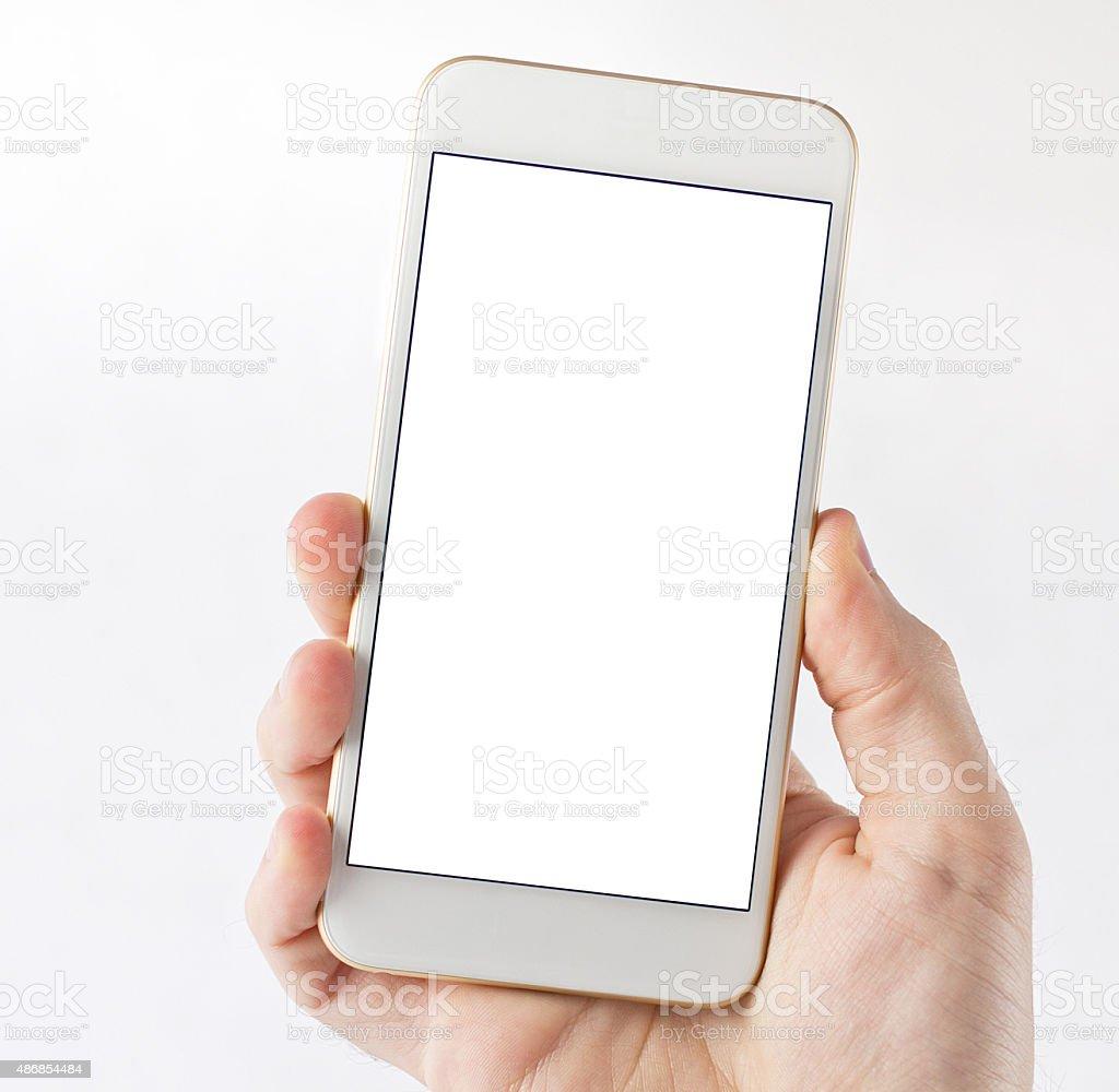 White smart phone on hand stock photo