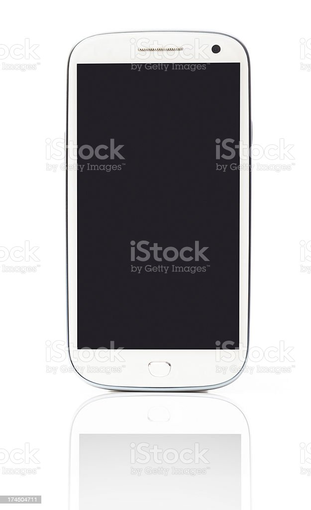 White smart phone with blank screen stock photo