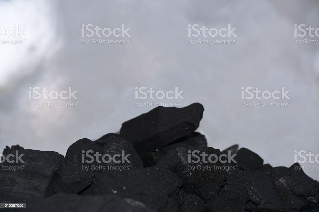 white smoke, black Coal stock photo