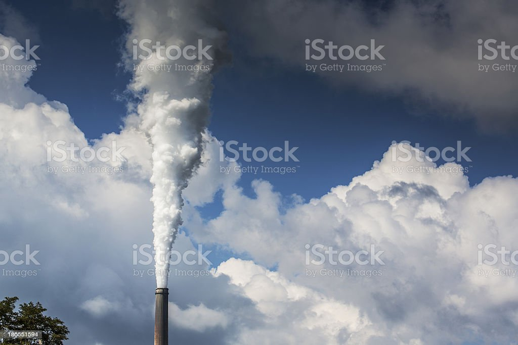 White smoke from coal powered plant stacks royalty-free stock photo
