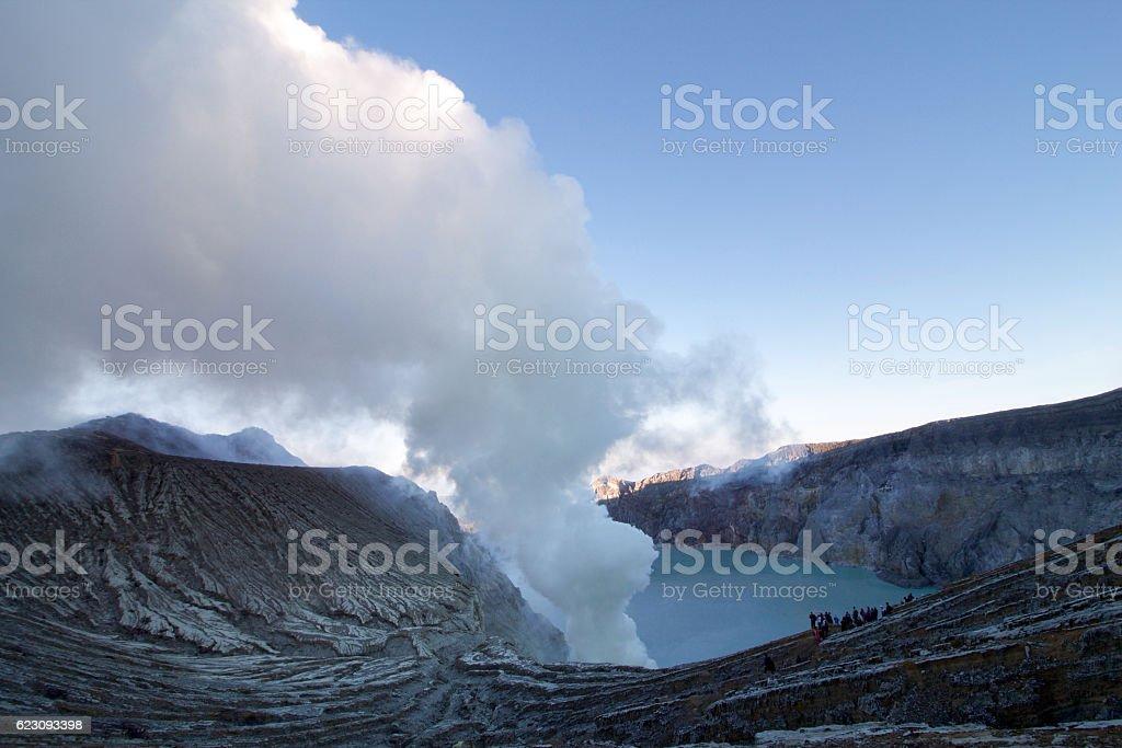 white smoke from the solfataras of Ijen volcano, Java island stock photo