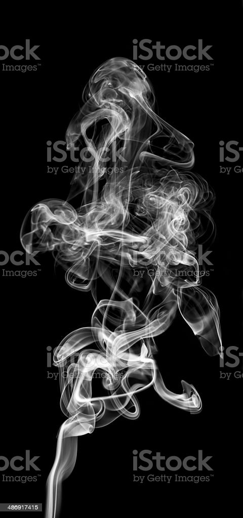 white smoke isolated on a black background royalty-free stock photo