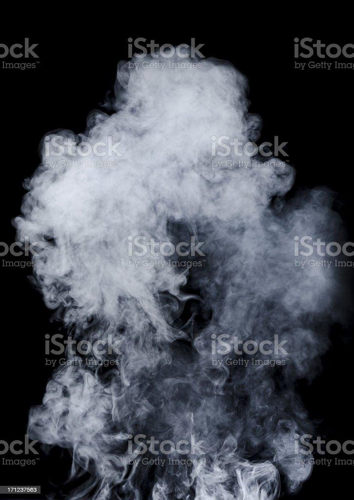 White smoke on black background stock photo