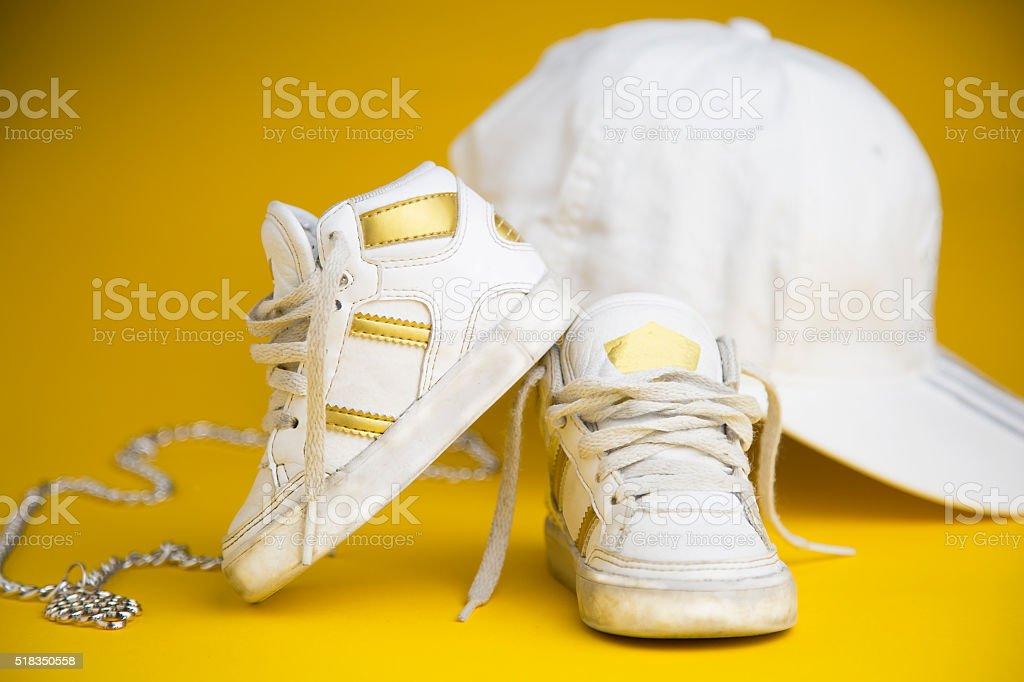 white sneakers for children stock photo