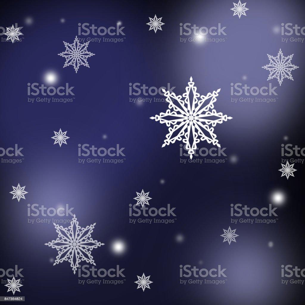 White  snowflakes ,christmas pattern on the blue background stock photo