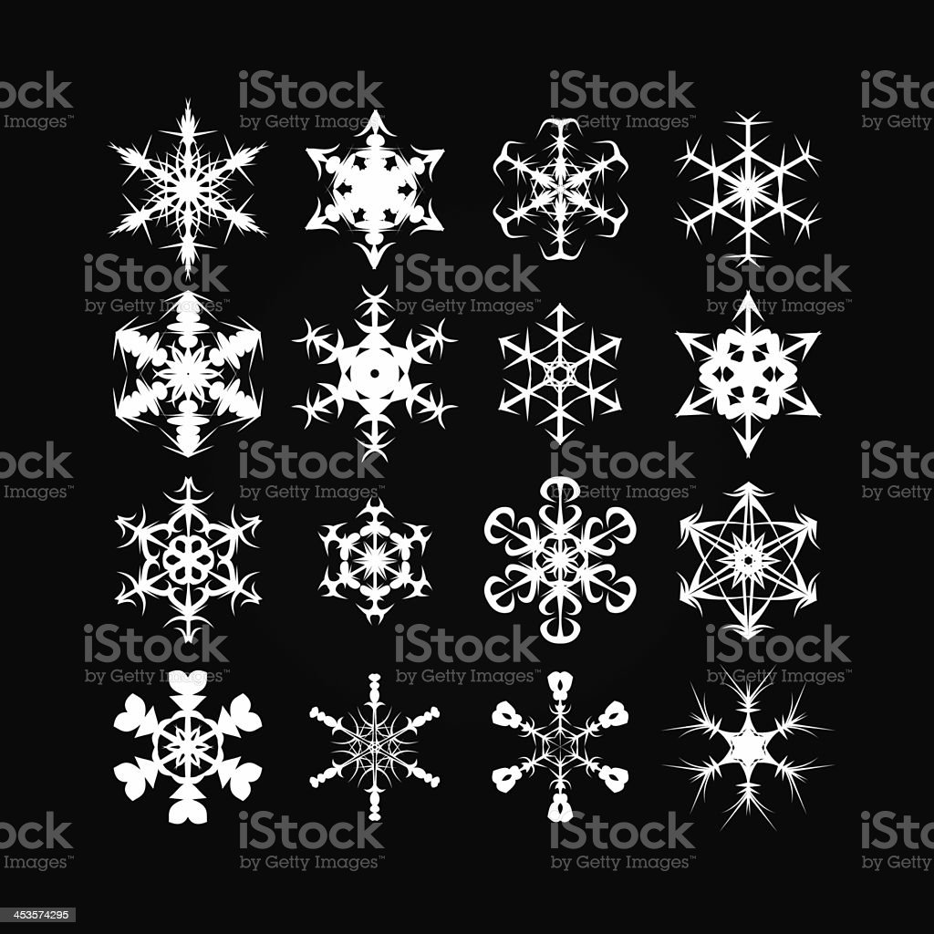White snowflakes of different shapes - Winter Background XXXL stock photo