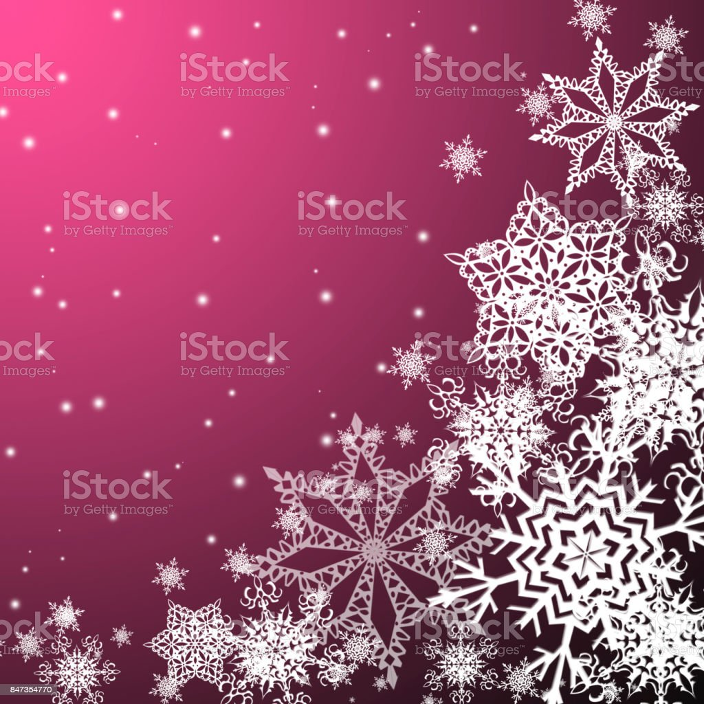 White  snowflakes,christmas  pattern on the pink  background stock photo