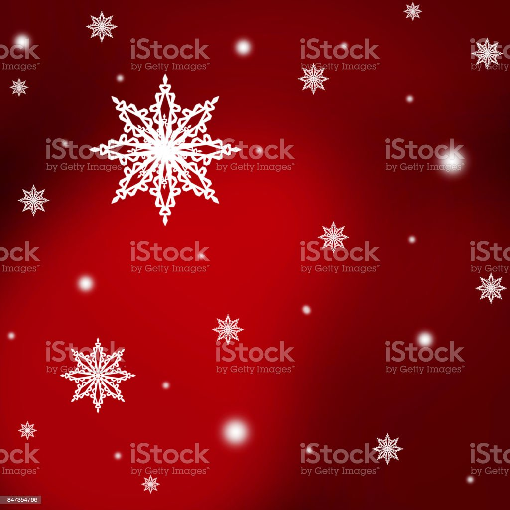 White  snowflakes,christmas  pattern  on the red christmas  background stock photo