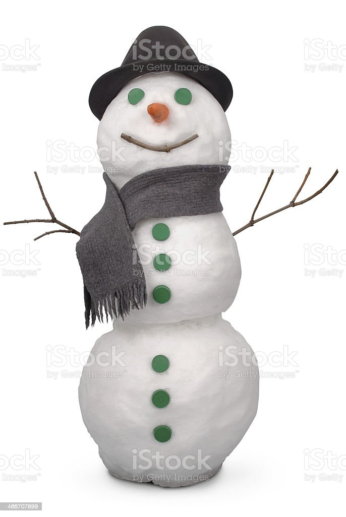 White snowman whith scarf and felt hat. (Clipping path) stock photo