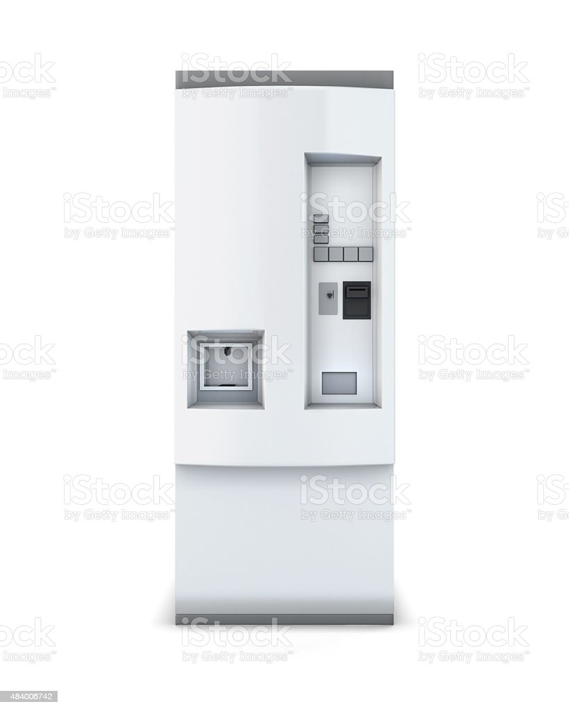 White soda vending machine vector art illustration