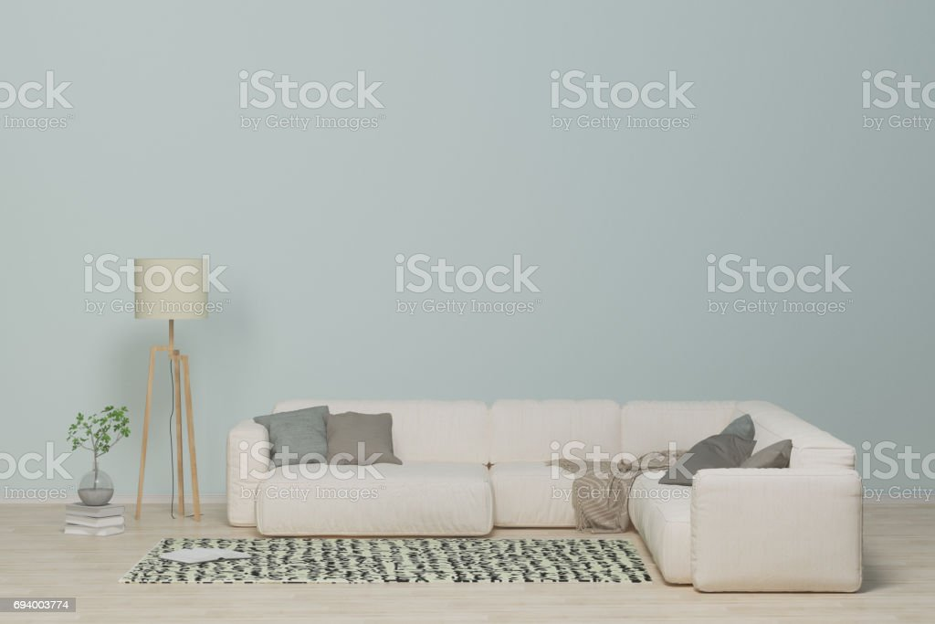 white sofa in the livingroom,Interior with sofa,pillows,lamp,books and vase with flowers on empty clean wall background,wooden floor.3D rendering. stock photo