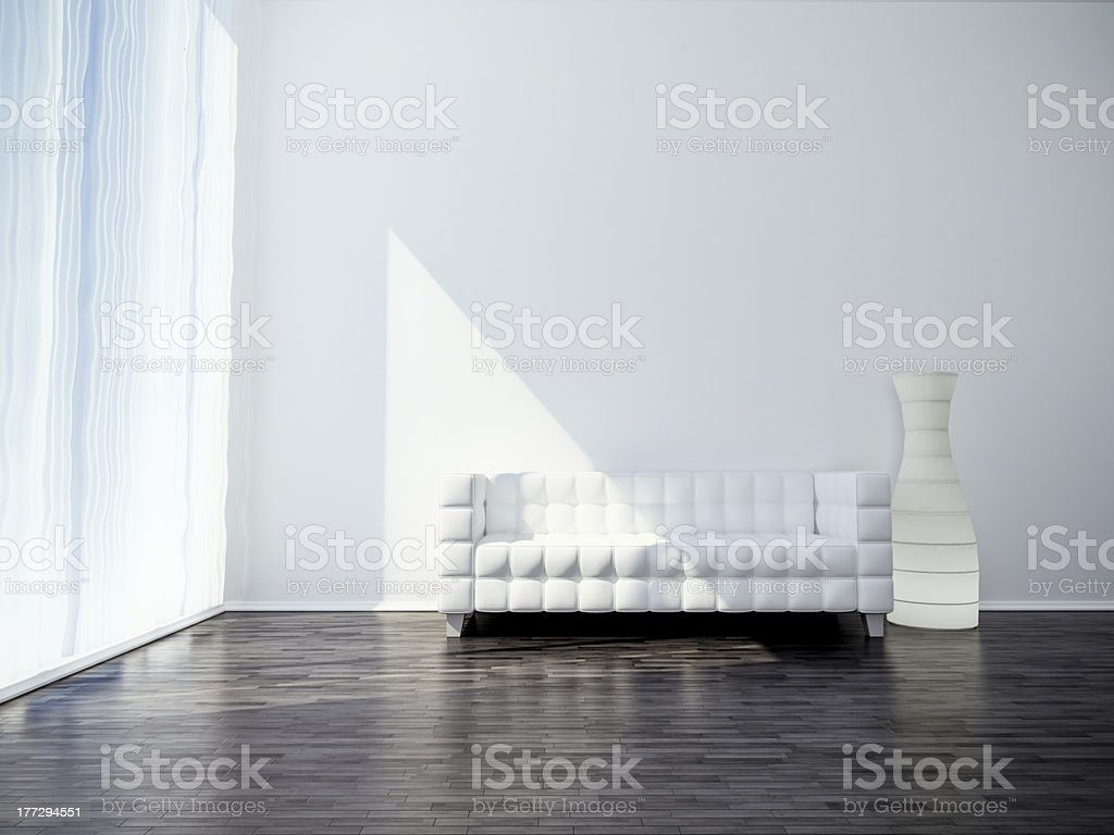 white sofa on black floor royalty-free stock photo
