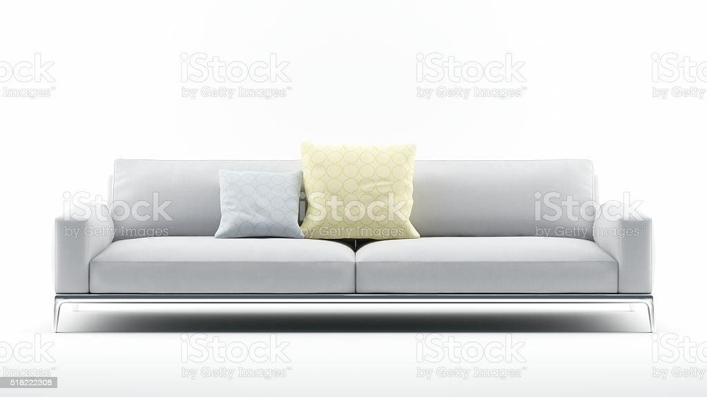White Sofa with Pillows stock photo