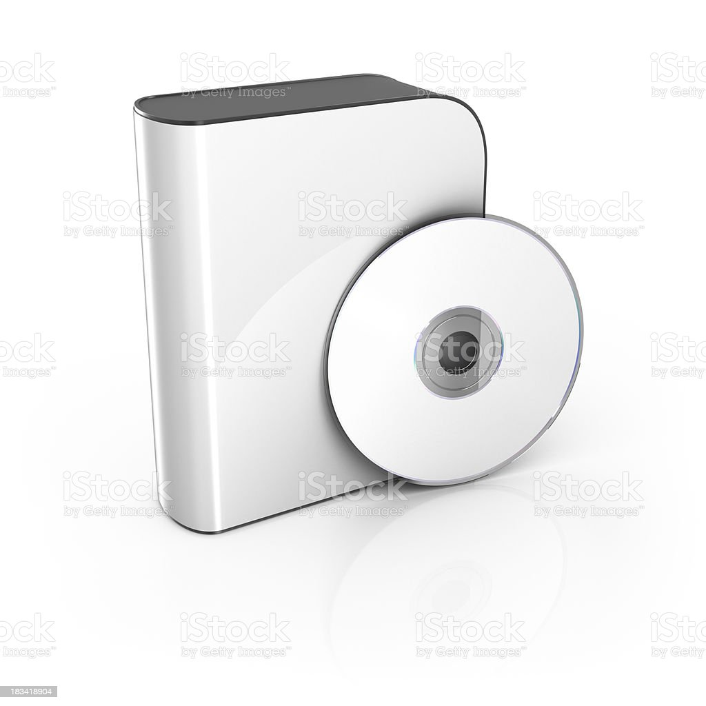 White software box with CD Copy space stock photo