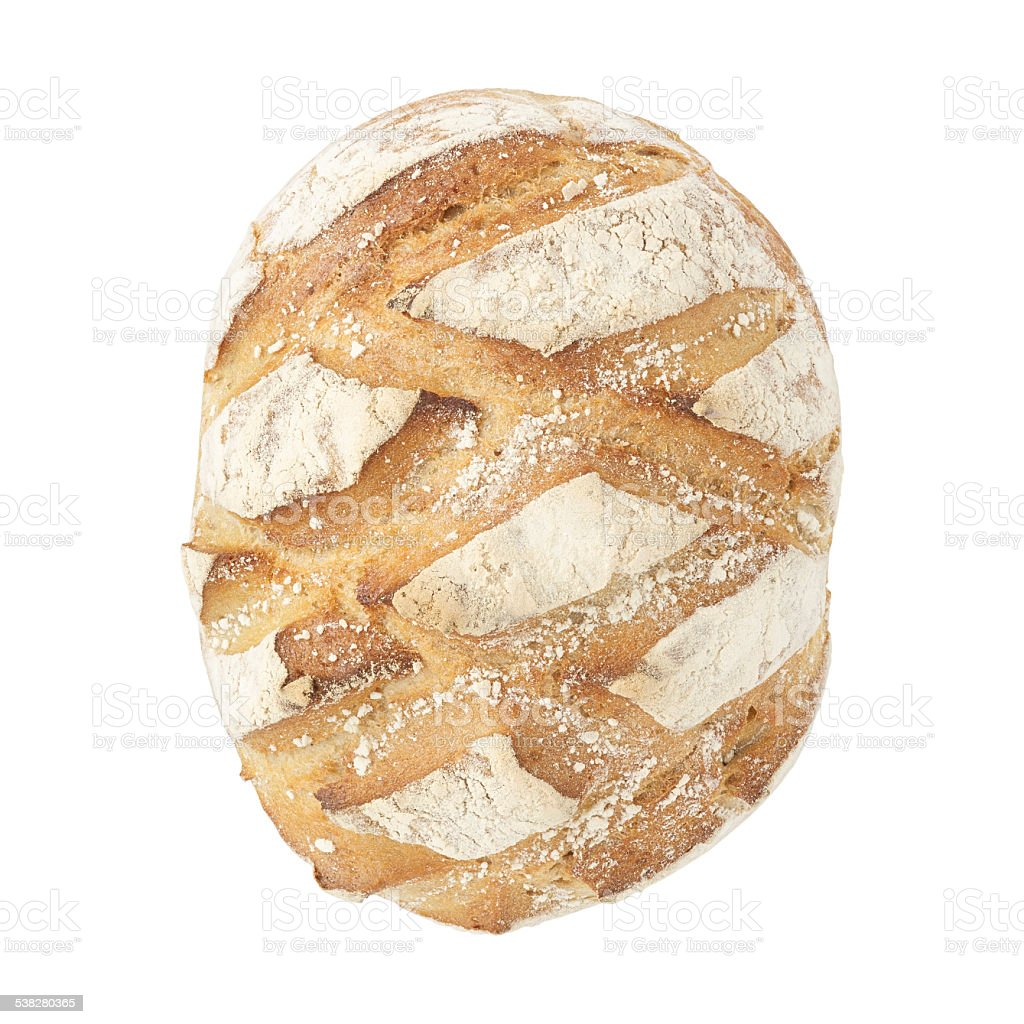 White sourdough loaf on a white background. stock photo