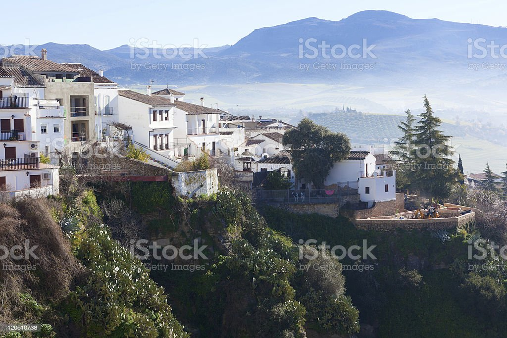 White spanish buildings on the cliffs at Ronda, Spain royalty-free stock photo