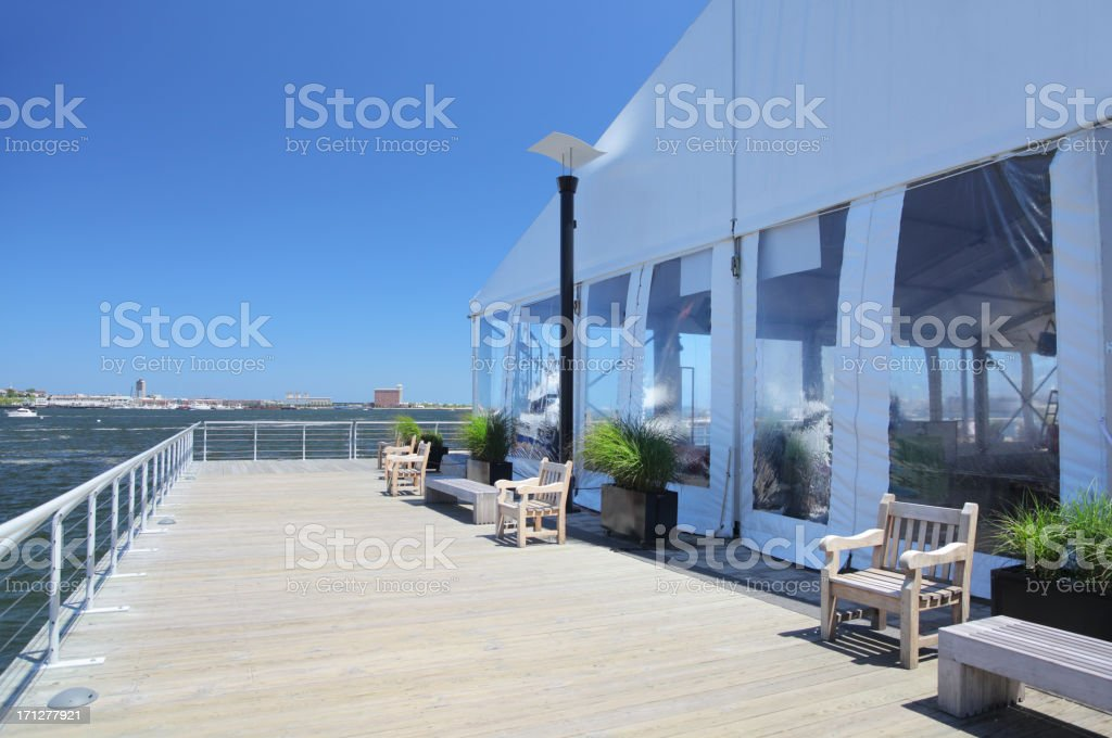 White Special Event Tent with Terrace stock photo