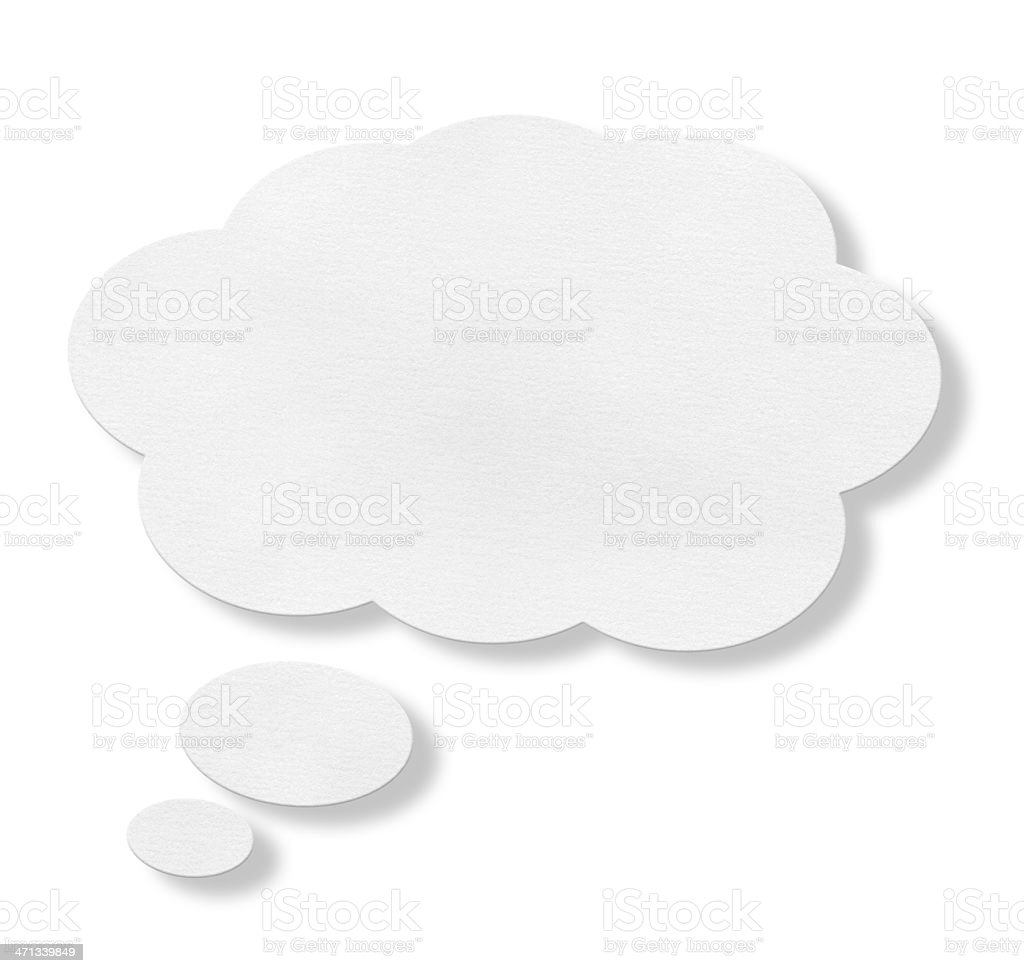 White speech bubble against white background stock photo