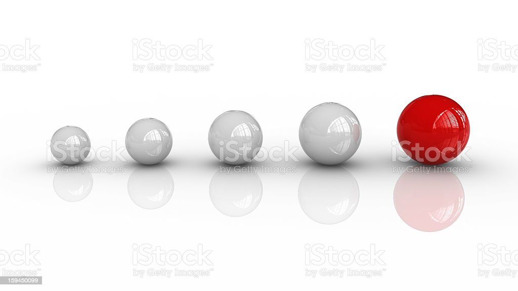 White Spheres and One Red royalty-free stock photo