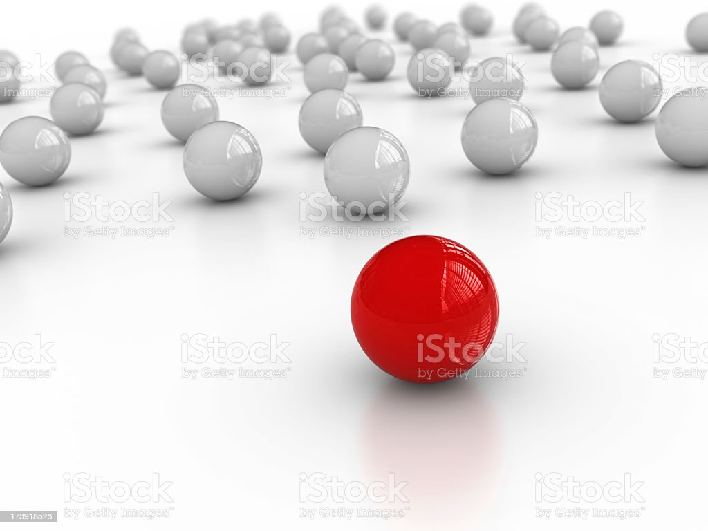 White Spheres One Red on Foreground royalty-free stock photo