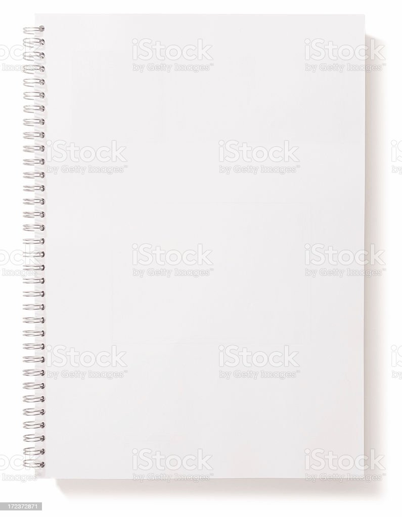 A white spiraled notebook on white background stock photo