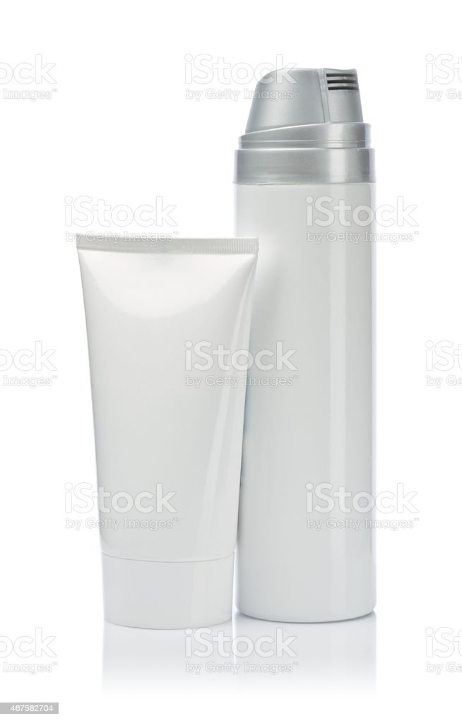 white spray bottle and tube stock photo
